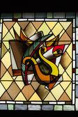 Stained glass window in Cloitre de La Psalette - Cathedral of Saint Gatien in Tours — Stock Photo