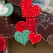 Colorful hearts - the symbol of love . Valantine decorations. — Stock Photo