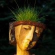 The flower pot in the form of the feminine head — Stock Photo #36829347