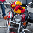 The parade of Santa Clauses on motorcycles around the Main Market Square in Cracow — Stock Photo