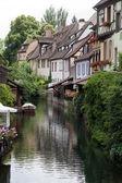Casas de madeira meia de colmar, Alsácia, França — Fotografia Stock