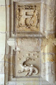 Heraldic motifs in the castle Chambord. .Valley of the river Cher. France — Stock Photo
