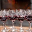 Red wine in Cristal glasses — Stock Photo