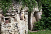 The homestead of troglodytes forged in the rock near Saumur — Foto Stock