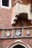 The courtyard of the collegium Maius of the Jagiellonski university in Krakow in Poland — Stock Photo