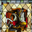 Stock Photo: Stained glass window in Cloitre de LPsalette - Cathedral of Saint Gatien in Tours