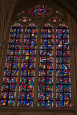 Stained glass windows of Saint Gatien cathedral in Tours, France. — ストック写真