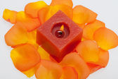 Spilt petals of the orange-rose around the aromatic candle — Stock Photo