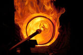Glass blowing process — Stock Photo