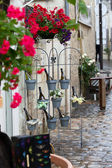 Bottles of wine in flowerpots - most beautiful French flowers — Stock Photo
