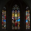 Stained glass window in Church of St Etienne. Chinon, Vienne valley, France — Стоковое фото