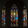 Stained glass window in Church of St Etienne. Chinon, Vienne valley, France — ストック写真