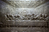 Cracow , Lagiewniki - The centre of Pope John Paul II. Unique reliefs from salt in the chapel St Kingas - the last Supper — 图库照片