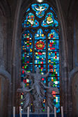 Stained glass windows of Saint Gatien cathedral in Blois. France — Stock Photo
