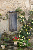 Cottage with roses around door — Stock Photo