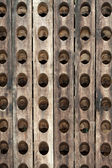 The old wooden bottle rack — Stock Photo