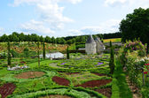 Sophisticated and full taste garden and chateau La Chatonniere near Villandry. Loire Valley — Stock Photo