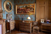 In style kept rooms in the castle Montresor.  Loire Valley, France — Foto de Stock