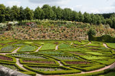 Subtle, sophisticated and full taste garden and chateau La Chatonniere near Villandry. Loire Valley — Стоковое фото