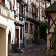Street with half-timbered medieval houses in Eguisheim village along the famous wine route in Alsace, France — Stock Photo #49460001