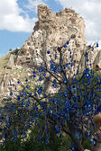 Evil eye in tree behind Uchisar Castle in Cappadocia, — Stock Photo