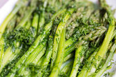 Green asparaguses with the fresh dill — Stock Photo