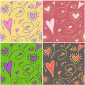 Seamless love background in different colours — Stock Vector