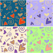 Love background in different colours — Stock Vector