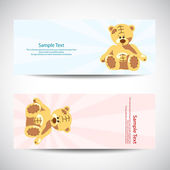 Set of banners with teddy bear — Stock Vector