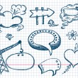 Hand Drawn Speech And Thought Bubbles — Stock Vector