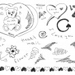 Stock Vector: Hand drawn love doodles