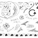 Hand drawn love doodles — Stock Vector