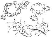 Burbujas explosión discurso dibujados a mano — Vector de stock