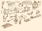 Hand drawn morning doodles — Stock Vector