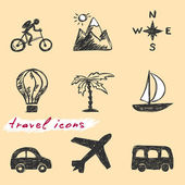 Hand drawn travel icons Vector — Stockvector