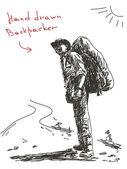 Hand drawn backpacker Vector — Stock Vector