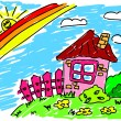 House under rainbow - Stock Vector