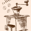 Hand drawn coffee grinder Vector - Stock Vector