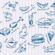 Handdrawn food doodles Vector - Stock Vector