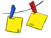 Papel dibujado a mano colgando en una línea de ropa — Vector de stock