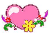 элемент сердца, цветов и дизайна — Cтоковый вектор