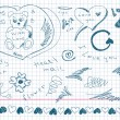 Hand drawn love doodles — Image vectorielle