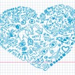 Royalty-Free Stock Vector Image: Hand drawn doodles in heart shape