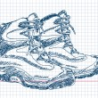 Hand drawn hiking boots Vector - Stok Vektör