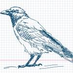 vector Cuervo dibujados a mano — Vector de stock