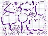 Bulles de parole et de pensée dessinés à la main — Vecteur