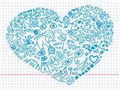 Hand getrokken doodles in hart vorm — Stockvector