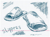 Ručně tažené pantofle vektor — Stock vektor
