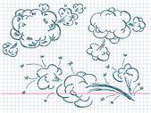 Handen ritade pratbubblor explosion — Stockvektor