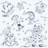 クリスマスの単純な描画ベクトル — ストックベクタ